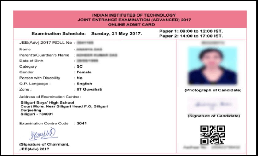 IIT-JEE Advanced Admit Card