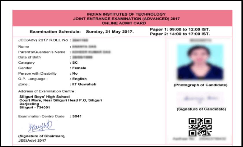 IIT-JEE Advanced Admit Card