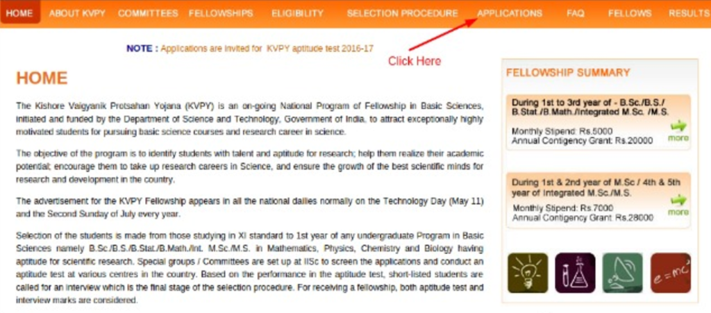 KVPY admit card - how to apply