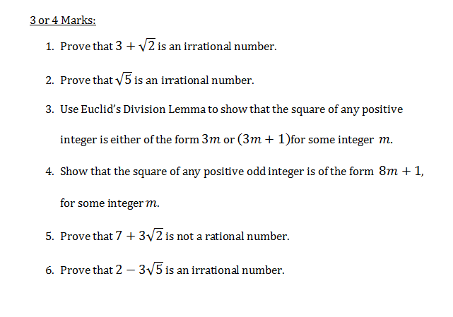 Real Numbers class 10