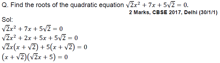 quadratic equations class 10